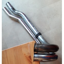Pair of stainless steel polished exhaust pipes for model 9