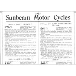 1933 Sunbeam Preliminary list