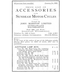 1923 Sunbeam Accessories list