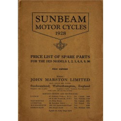 1928 Sunbeam Spares List -...