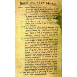 1927 Models Supplement to...